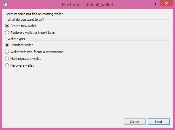 How to set up Electrum step 1
