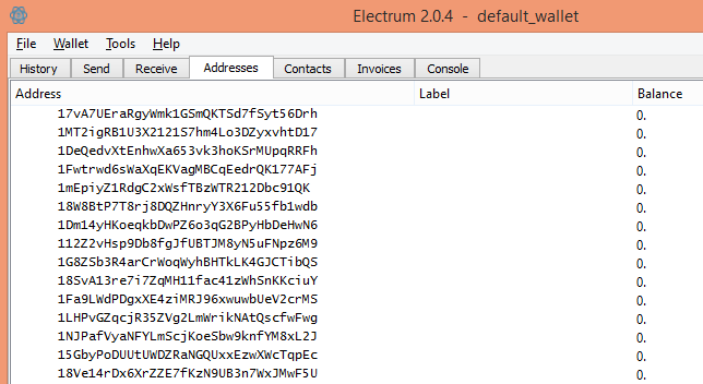Electrum bitcoin address tab